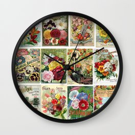 Vintage Flower Seed Catalog Covers Wall Clock