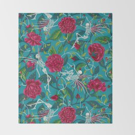 Death of Summer (carmine and blue) Throw Blanket