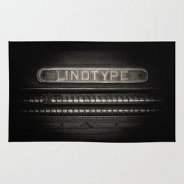 Linotype Old Print Machine Black and White Print Rug