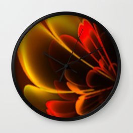 Stylized Half Flower Red Wall Clock