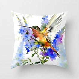 Alen's Hummingbird and Blue Flowers Throw Pillow