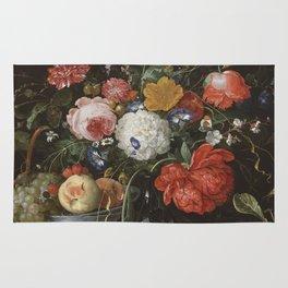 Jan Davidsz de Heem - Flower Still Life with a Bowl of Fruit and Oysters (c.1665) Rug