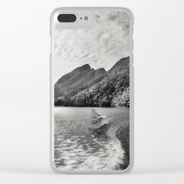 Morning Cruise at Doubtful Sound in black and white Clear iPhone Case