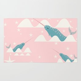 narwhal in ocean pink Rug