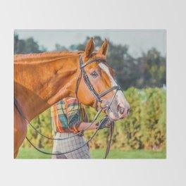 Horse head photo closeup Throw Blanket