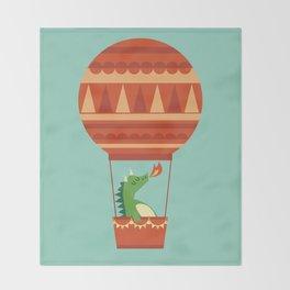 Dragon On Hot Air Balloon Throw Blanket