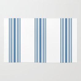 Farmhouse Blue Ticking Stripes on White Rug