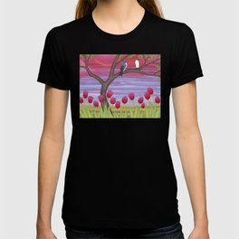 tree swallows & tulips at sunrise T-shirt