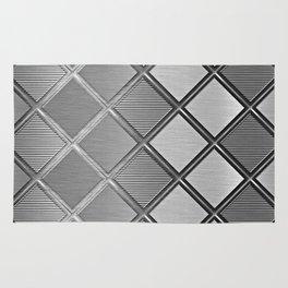 Silver Metallic Geometric Squares Pattern Rug