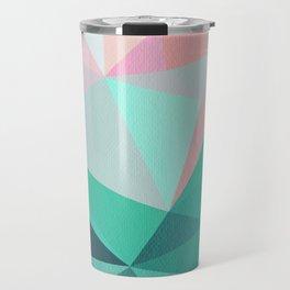 Geometric Landscape - Pink and Green Travel Mug