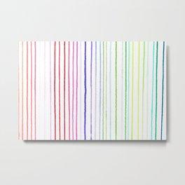 RAINBOW WATERCOLOR LINES Metal Print