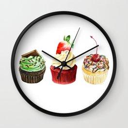 Three Cupcakes Wall Clock