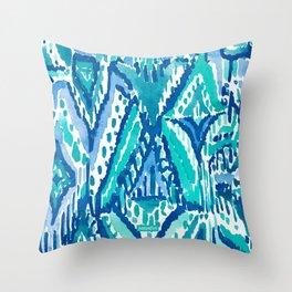 AQUA FRINGE TRIBAL Ikat Watercolor Throw Pillow