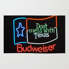 Don't Mess With Texas - Neon Beer Sign Rug