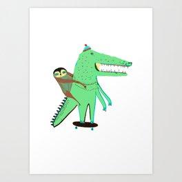 Crocodile and Sloth. Art Print