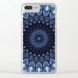 Dark and light blue mandala Clear iPhone Case
