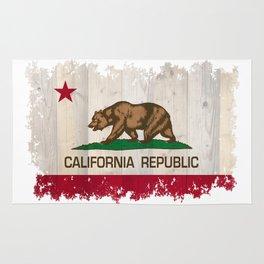 California Republic flag on woodgrain   Rug