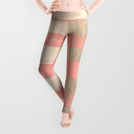Painted Stripes Tahitian Gold on Coral Pink Leggings
