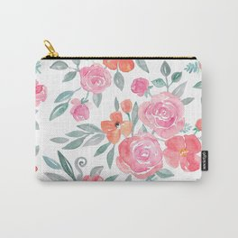 Amelia Floral in Pink and Peach Watercolor Carry-All Pouch