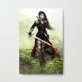 Lady knight - Warrior girl with sword concept art Metal Print