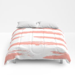 Pretty Pink Brush Stripes Horizontal Comforters