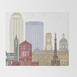 Indianapolis skyline poster Throw Blanket