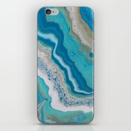 Turquoise River, Abstract Fluid Acrylic Painting iPhone Skin