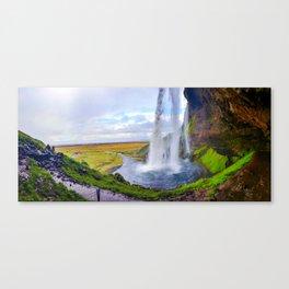 Behind Seljalandsfoss Waterfall in Iceland (1) Canvas Print