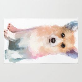 Corgi watercolor Rug