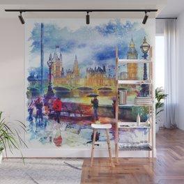London Rain watercolor Wall Mural