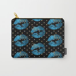 Blue Turquoise Glitter Lip Pattern Carry-All Pouch