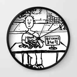 """Ben sells Bitcoins at the street fair"" Wall Clock"