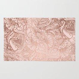 Modern rose gold floral illustration on blush pink Rug