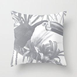 Toucans and Bromeliads - Sharkskin Grey Throw Pillow