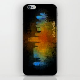 Nashville city skyline Tennessee watercolor v4 Dak iPhone Skin