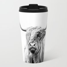 portrait of a highland cow Travel Mug