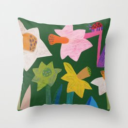 Daffodils and ladybird Throw Pillow