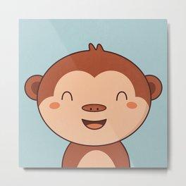Kawaii Cute Monkey Metal Print