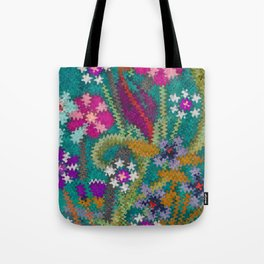 Starry Floral Felted Wool, Turquoise and Pink Tote Bag