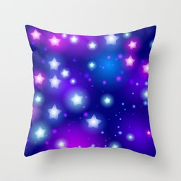 Milky Way Abstract pattern with neon stars on blue background Throw Pillow