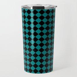 Black and Teal Green Diamonds Travel Mug