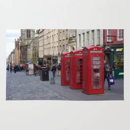 Telephone Booths Royal Mile Edinburgh Rug