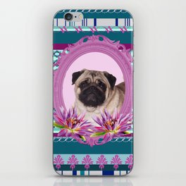 Frame Pug - Mops colorful Pattern iPhone Skin