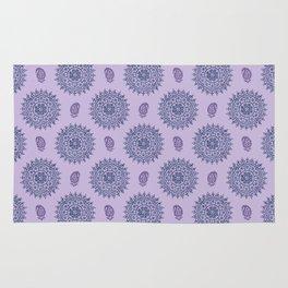 Mandala Paisley Block Print Purple Rug