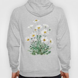 white Margaret daisy watercolor Hoody