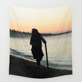 Sunrise Shadow by the lake Wall Tapestry