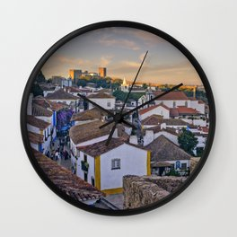 Obidos in the evening Wall Clock