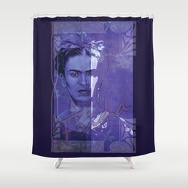 Frida Kahlo - between worlds - blurple Shower Curtain