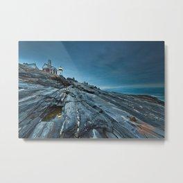 Blue Dusk at Pemaquid Point Lighthouse Metal Print
