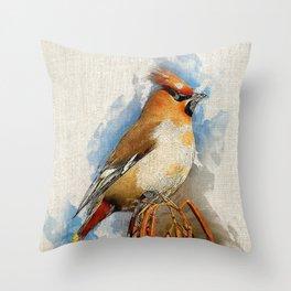 Watercolor Bird - Bohemian waxwing(Bombycilla garrulus) Throw Pillow